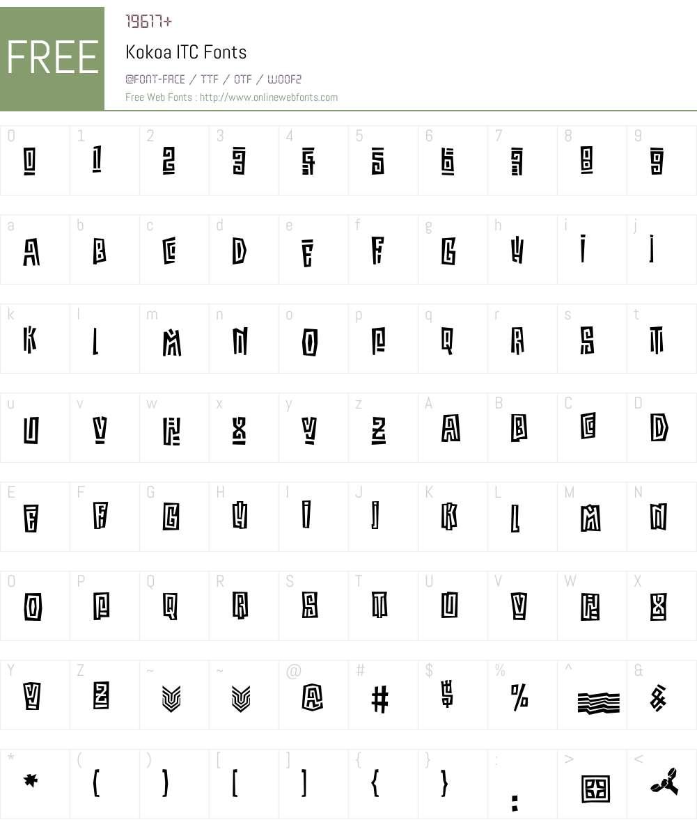 Kokoa ITC Font Screenshots
