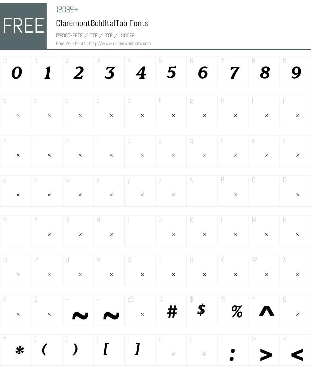 ClaremontBoldItalTab Font Screenshots