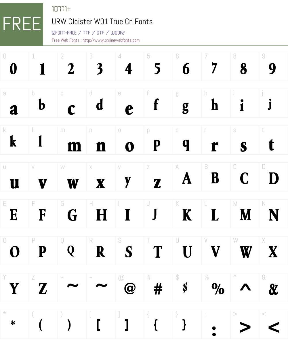 URWCloisterW01-TrueCn Font Screenshots
