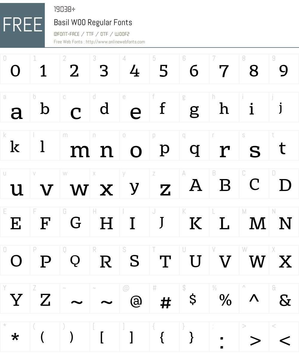 BasilW00-Regular Font Screenshots