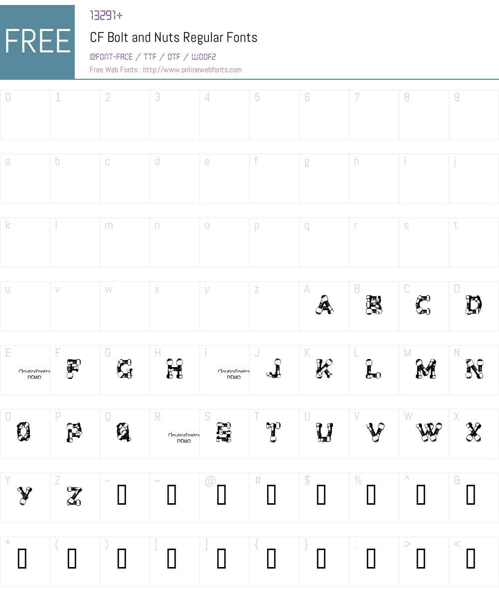 CF Bolt and Nuts Font Screenshots