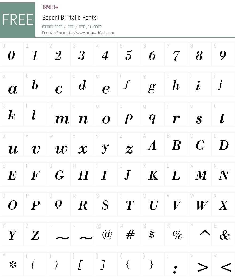 Bodoni BT Font Screenshots