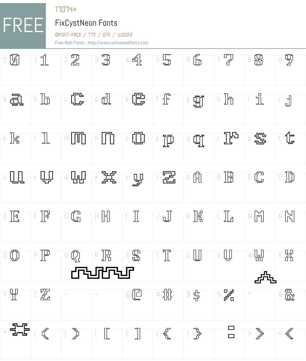FixCystNeon Font Screenshots