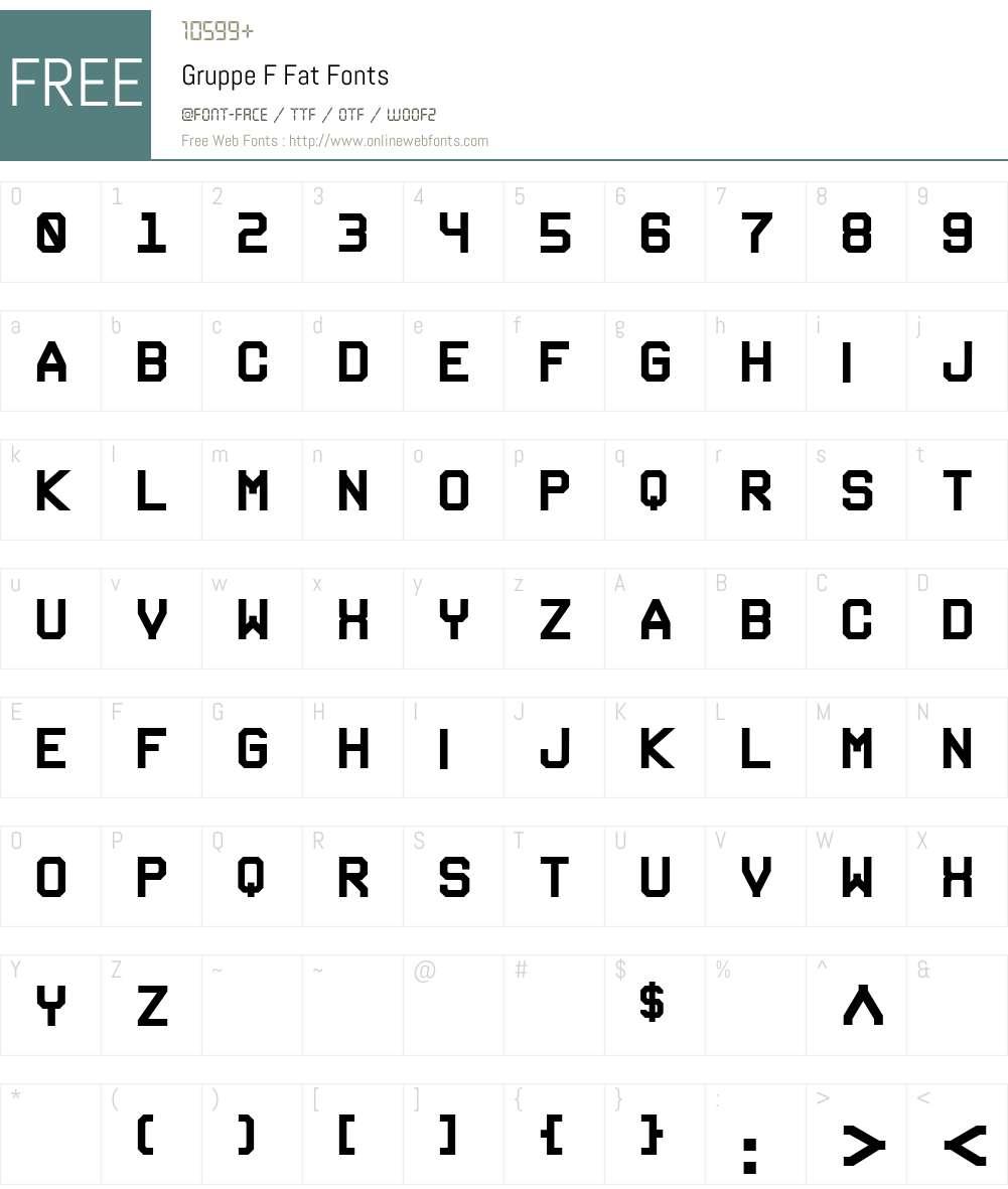 Gruppe F Font Screenshots
