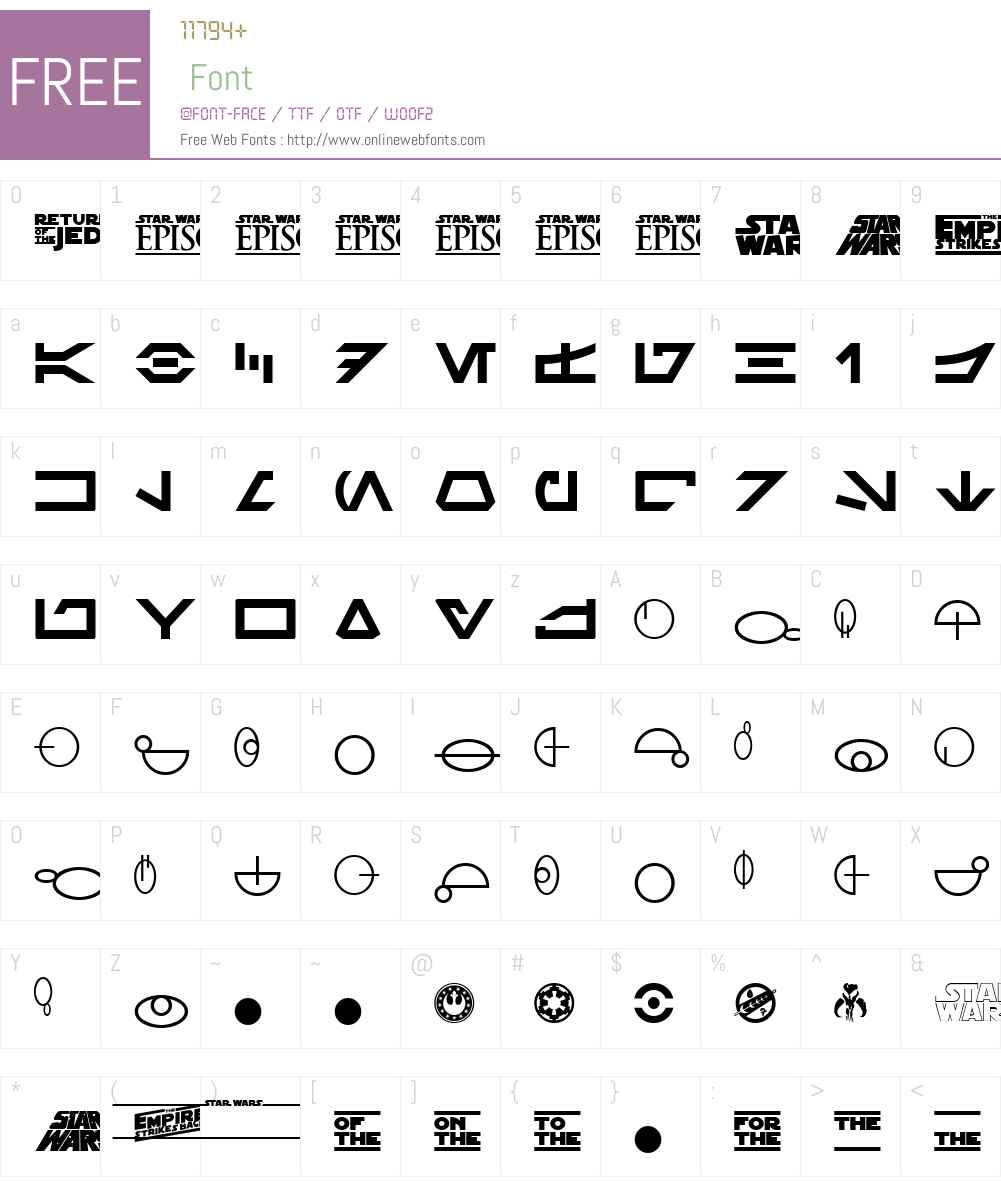 SF Distant Galaxy Symbols Font Screenshots