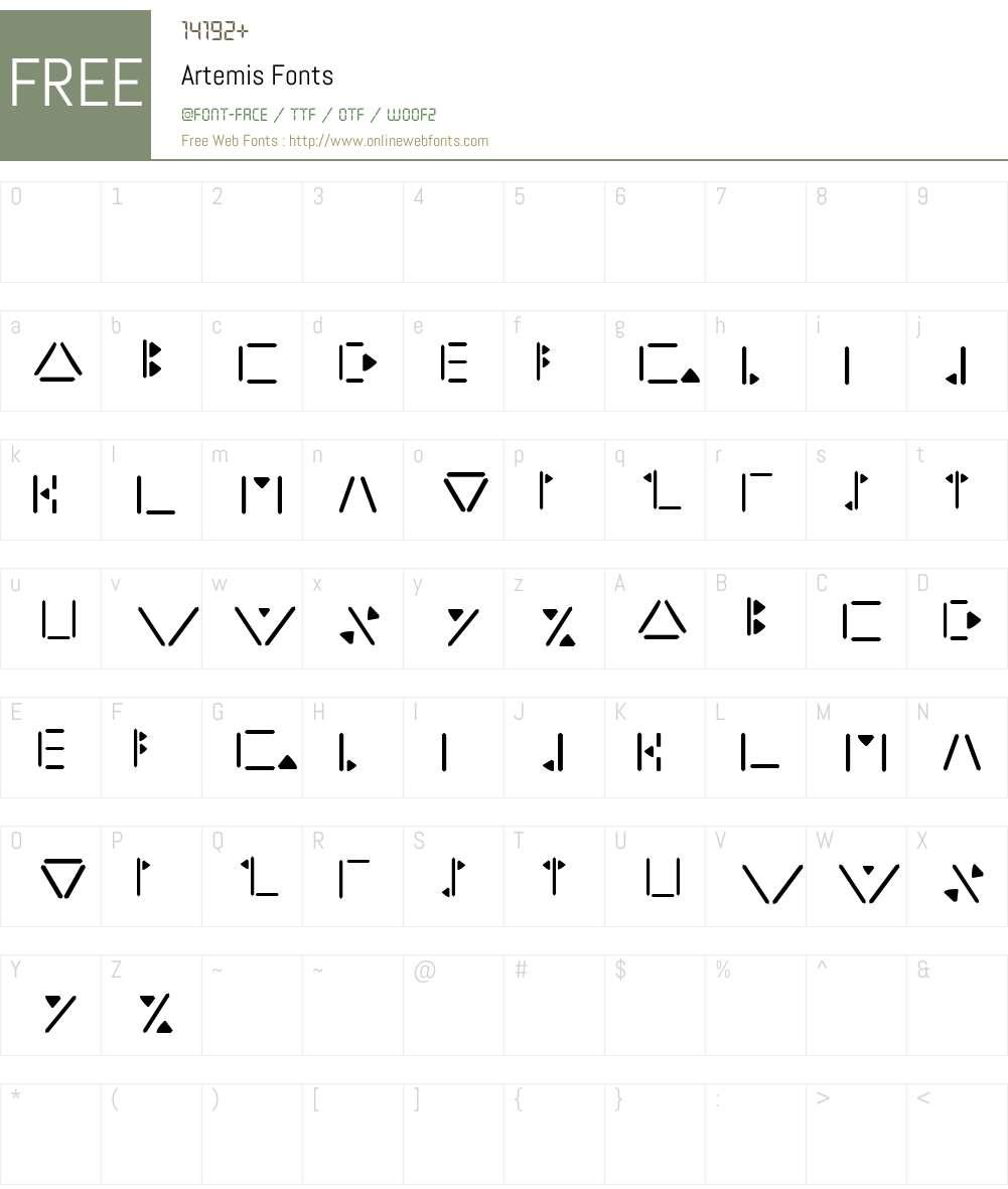 Artemis Font Screenshots