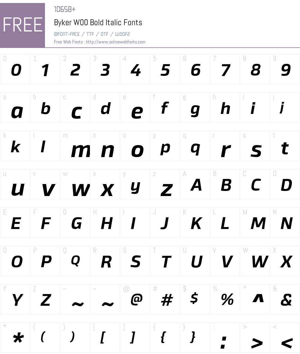 BykerW00-BoldItalic Font Screenshots