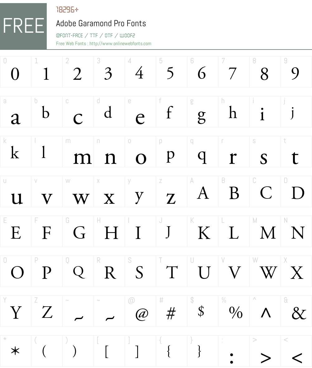Adobe Garamond Pro Font Screenshots