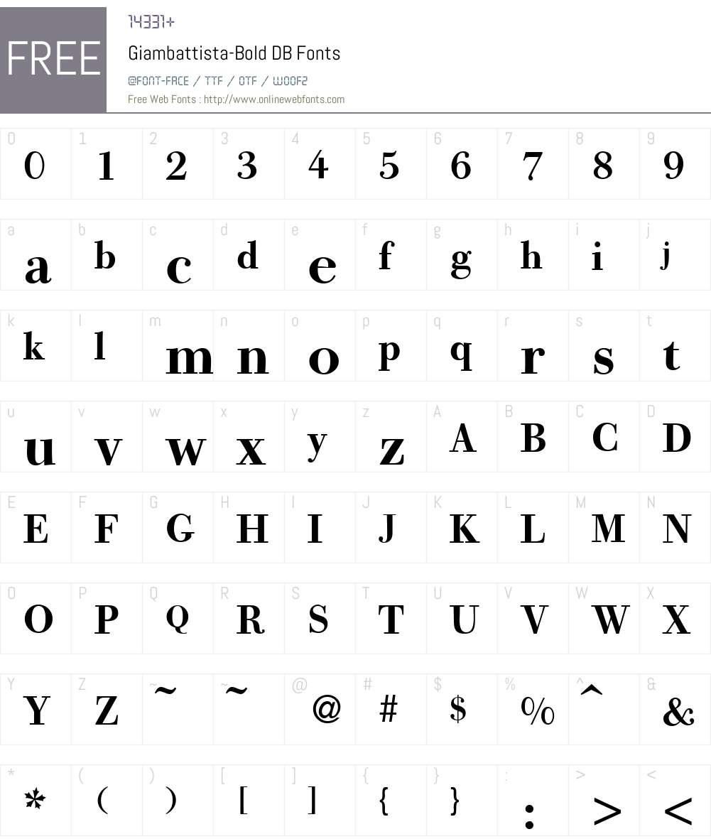 Giambattista DB Font Screenshots
