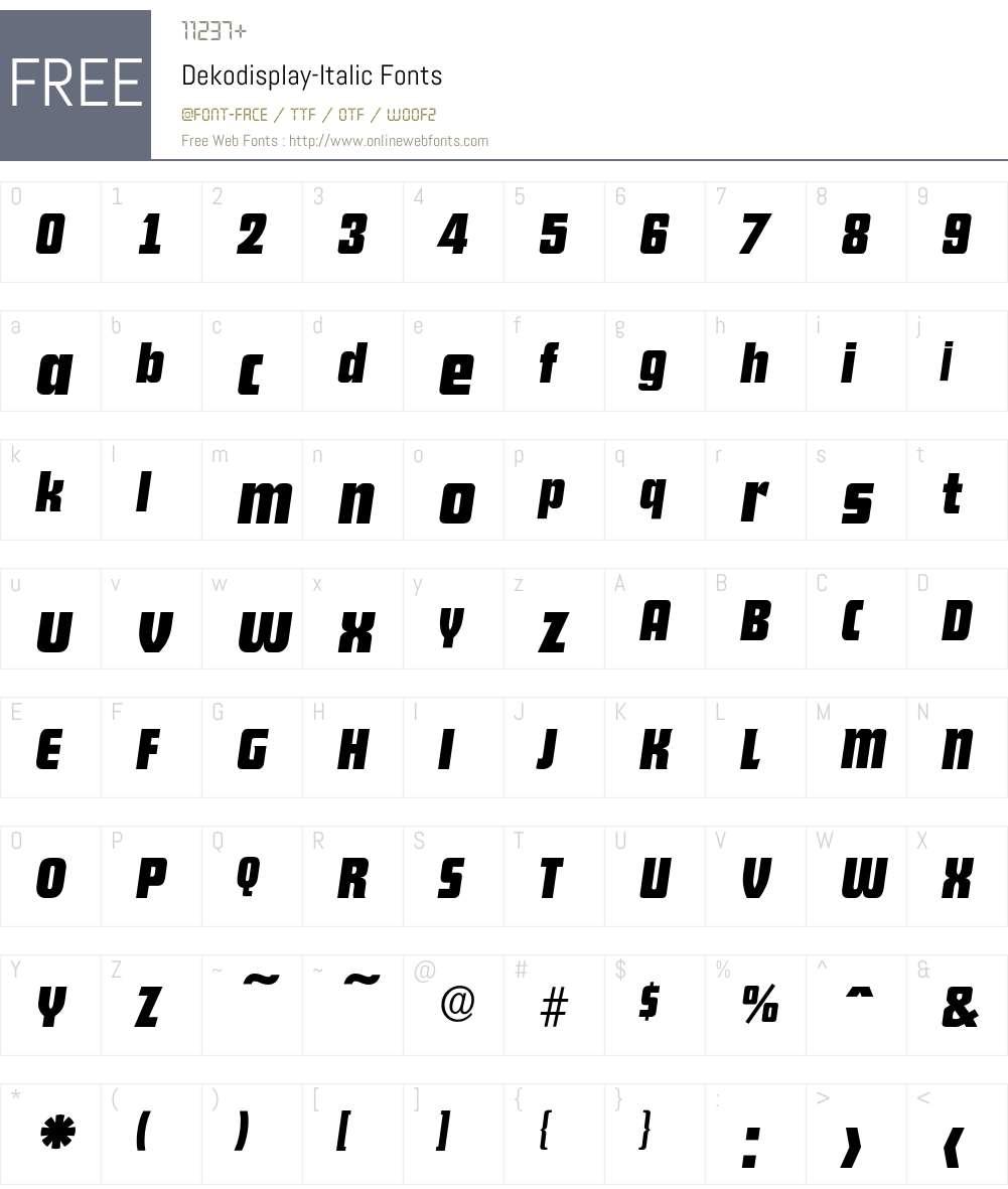 Dekodisplay-Italic Font Screenshots