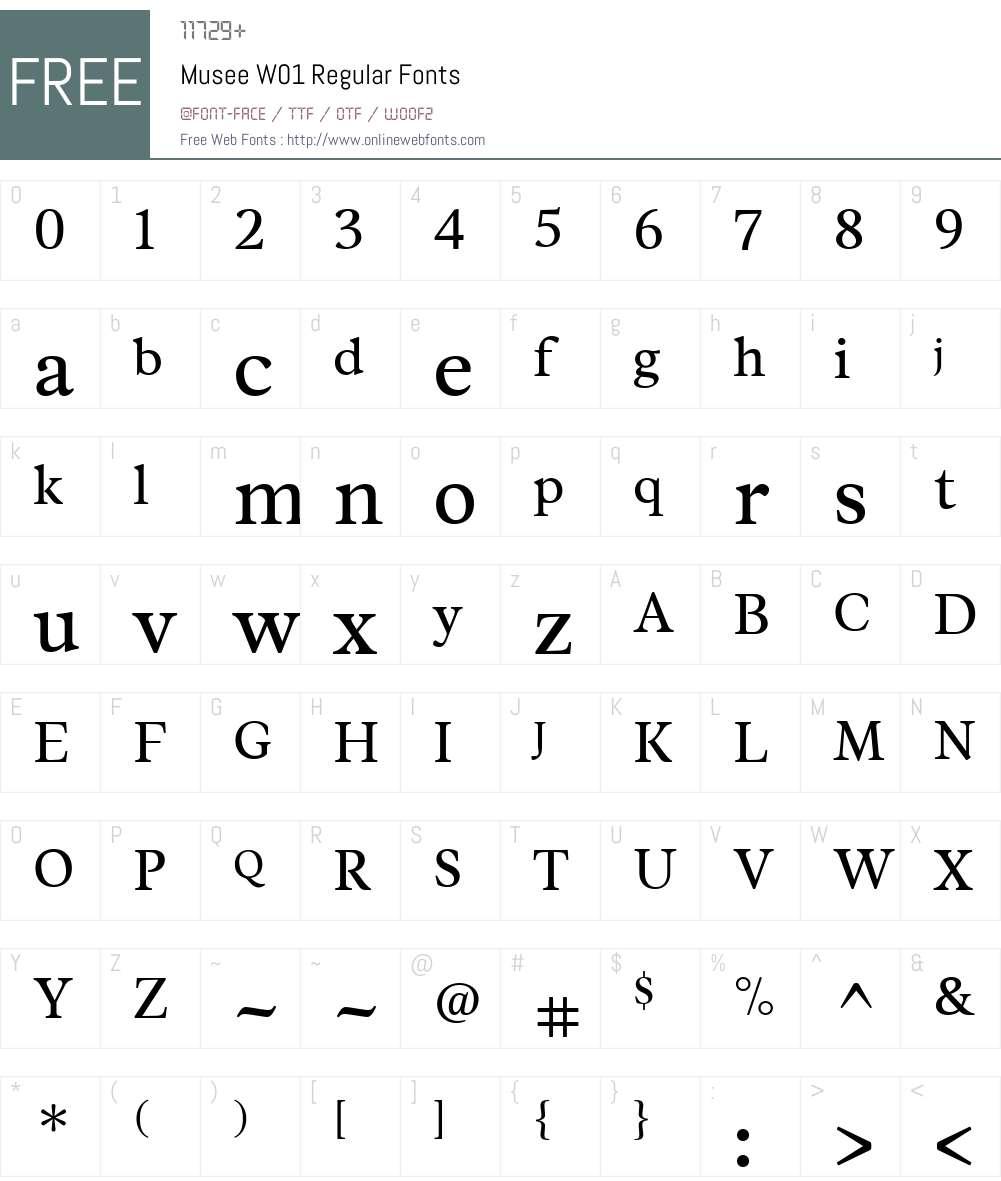 MuseeW01-Regular Font Screenshots