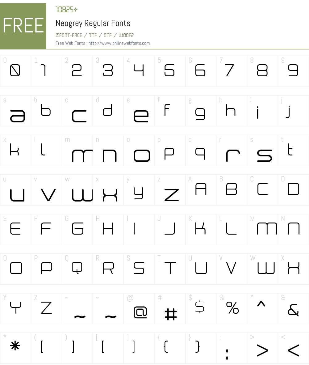 Neogrey Font Screenshots