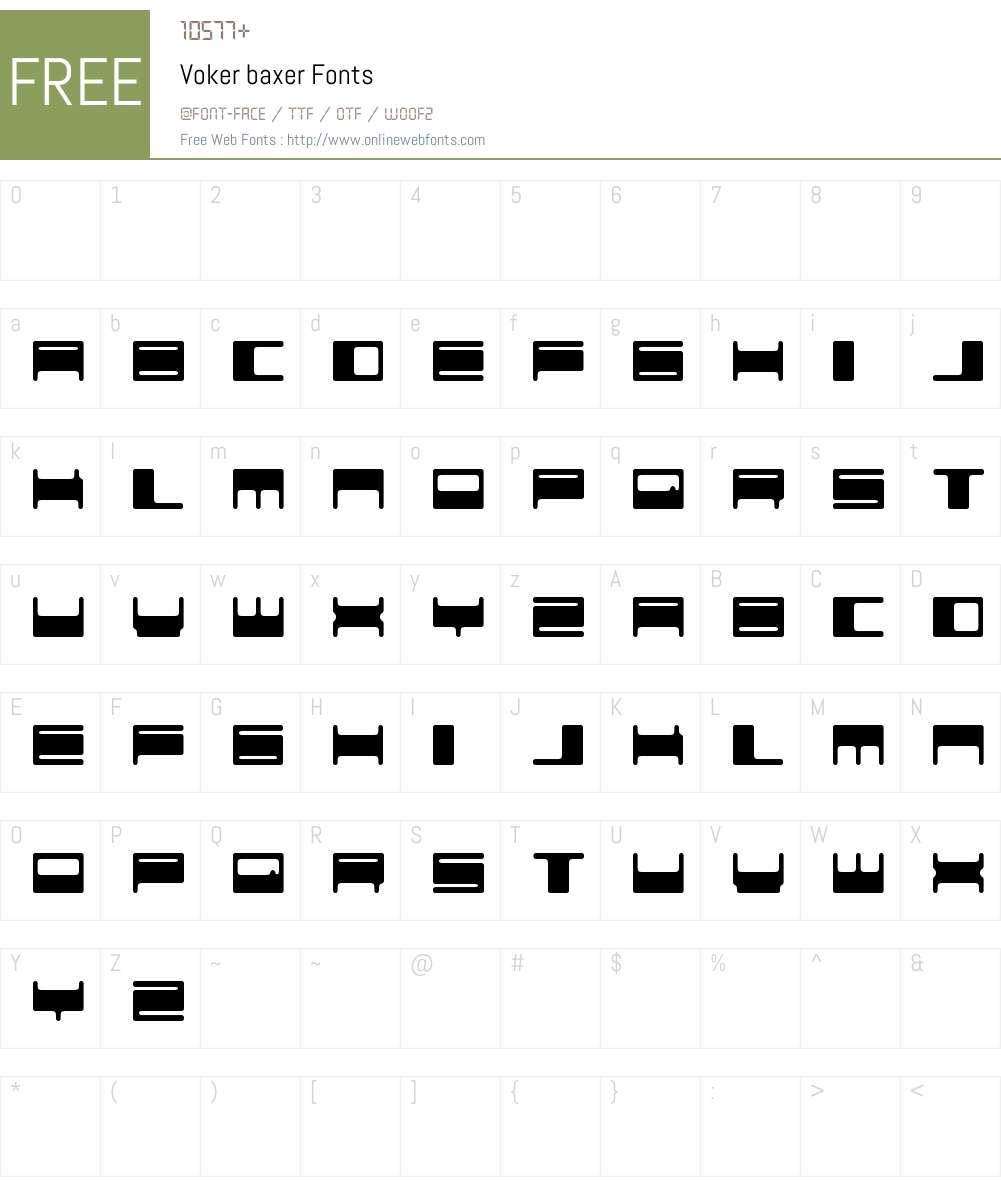 Voker baxer Font Screenshots