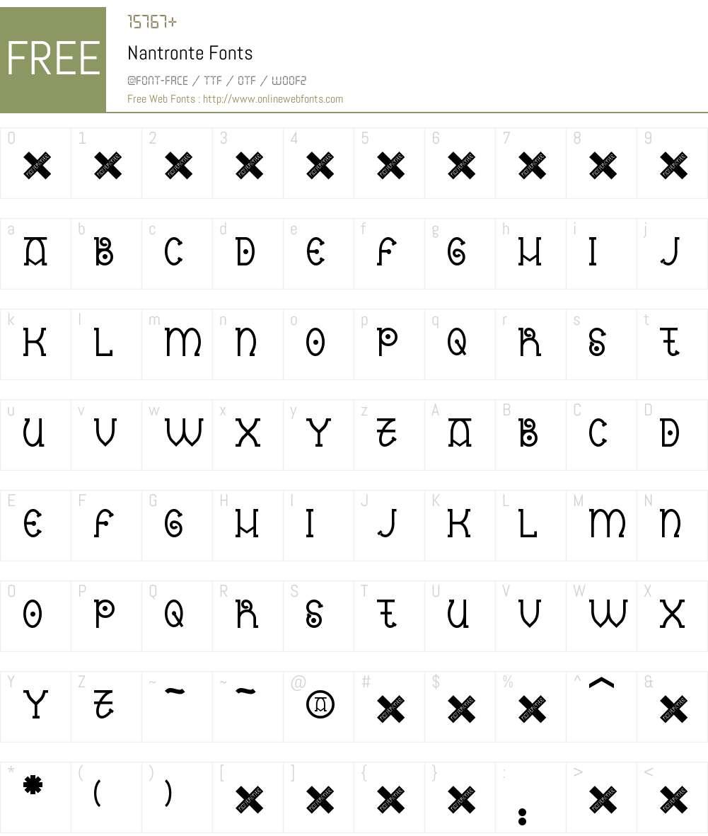 Nantronte Font Screenshots