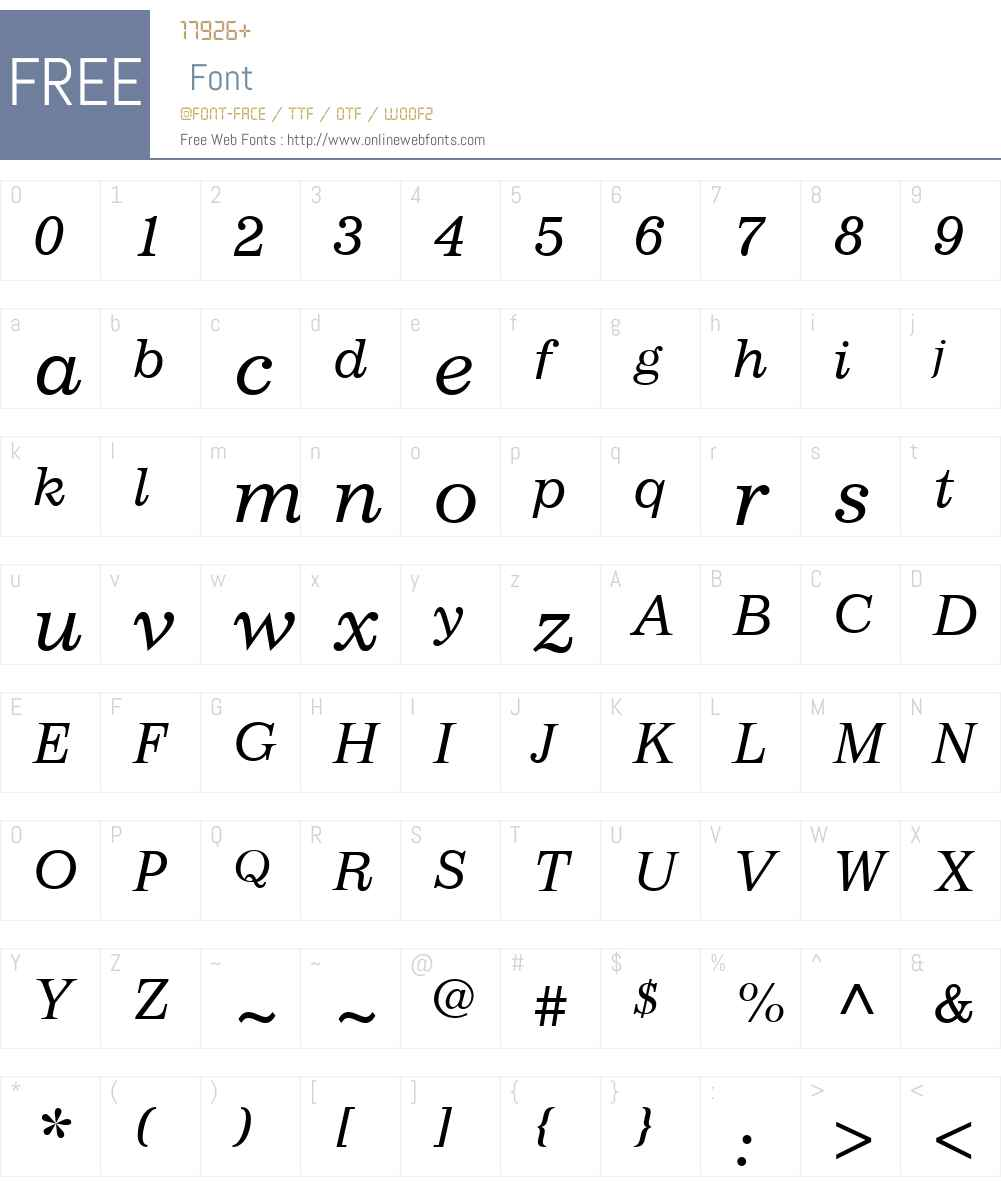 ImpressumW01-Italic Font Screenshots