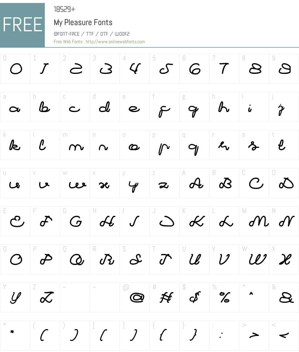 My Pleasure Font Screenshots