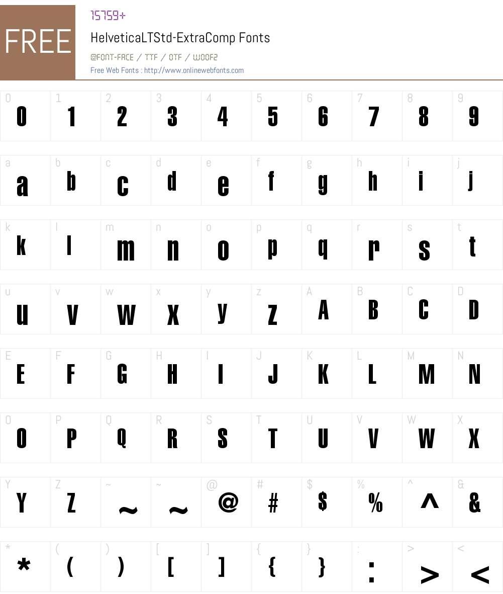 Helvetica LT Std ExtCompressed Font Screenshots