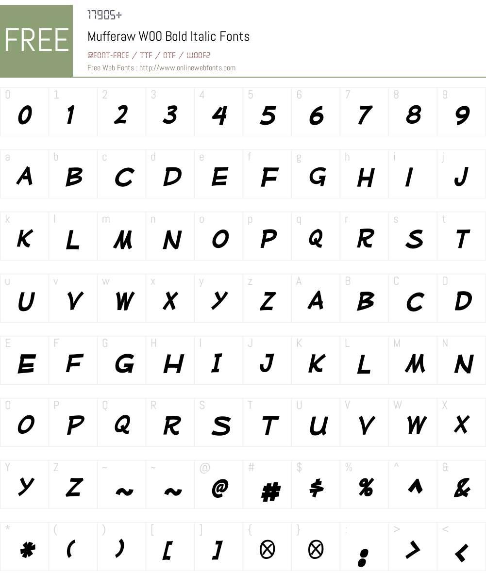 MufferawW00-BoldItalic Font Screenshots