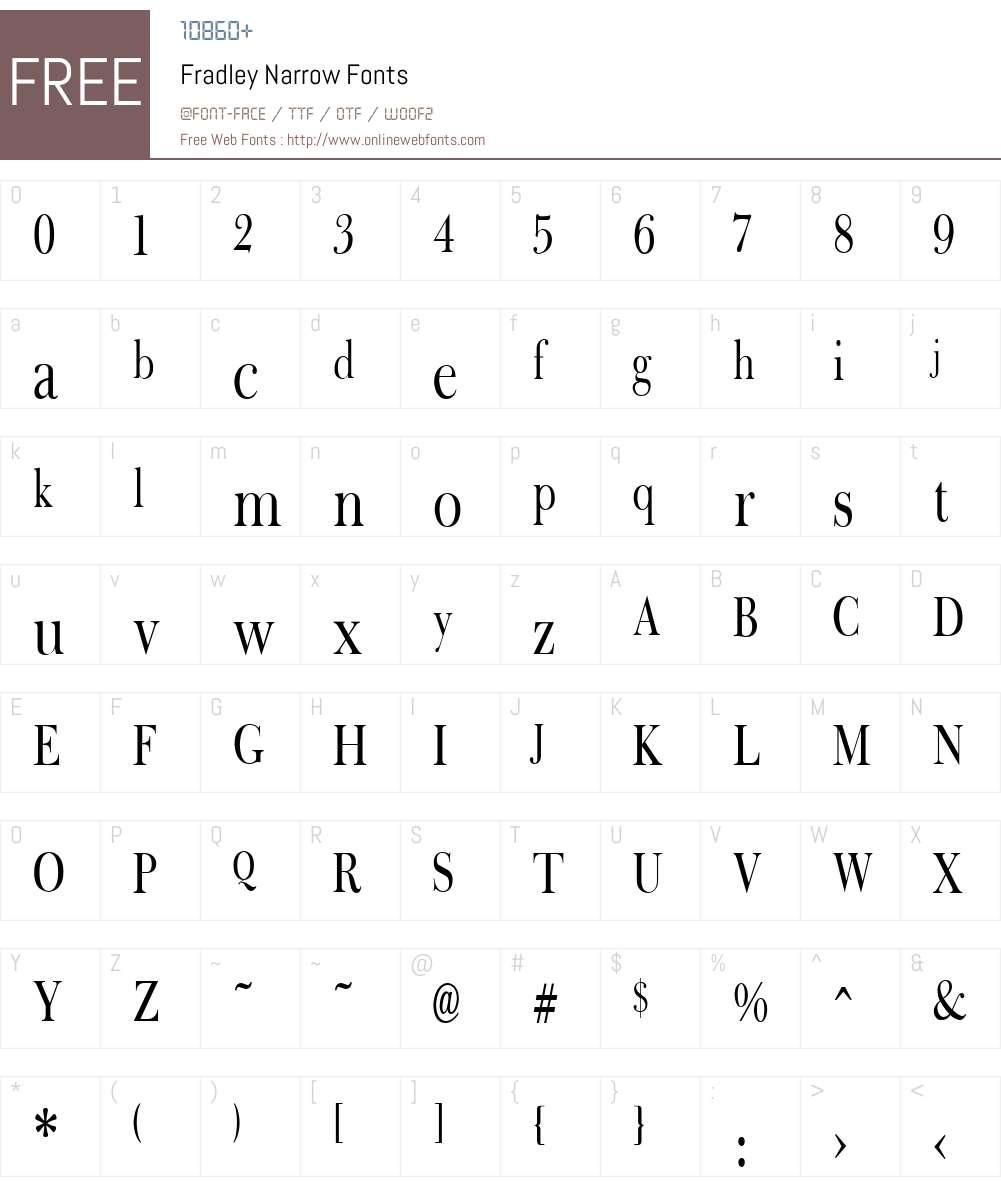 Fradley Narrow Font Screenshots