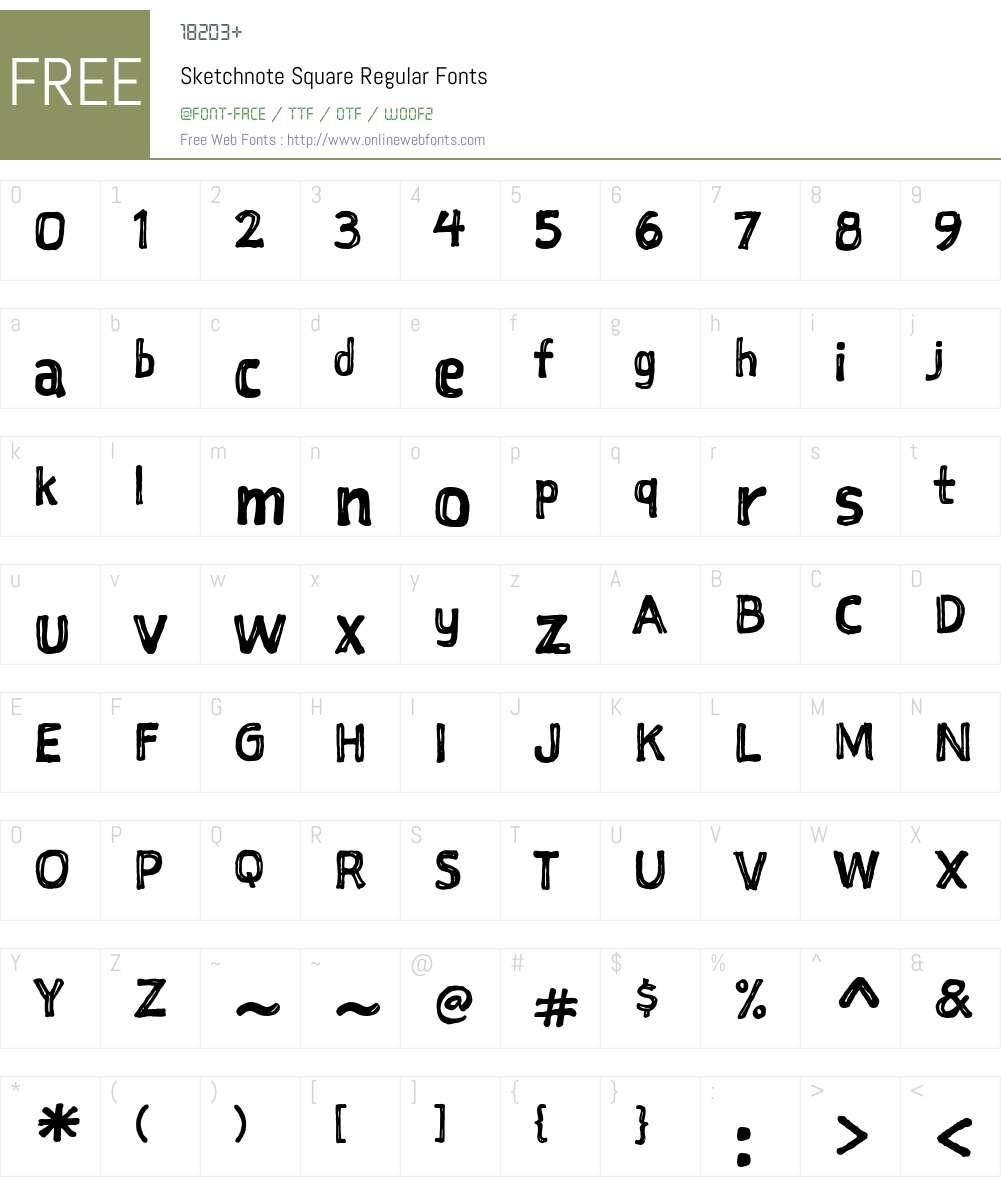 Sketchnote Square Font Screenshots