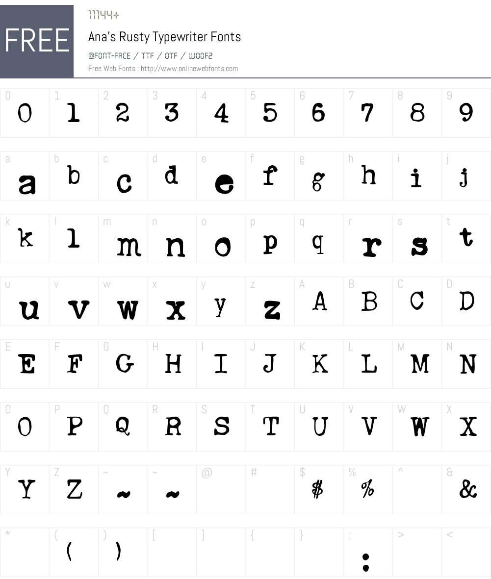 Ana's Rusty Typewriter Font Screenshots