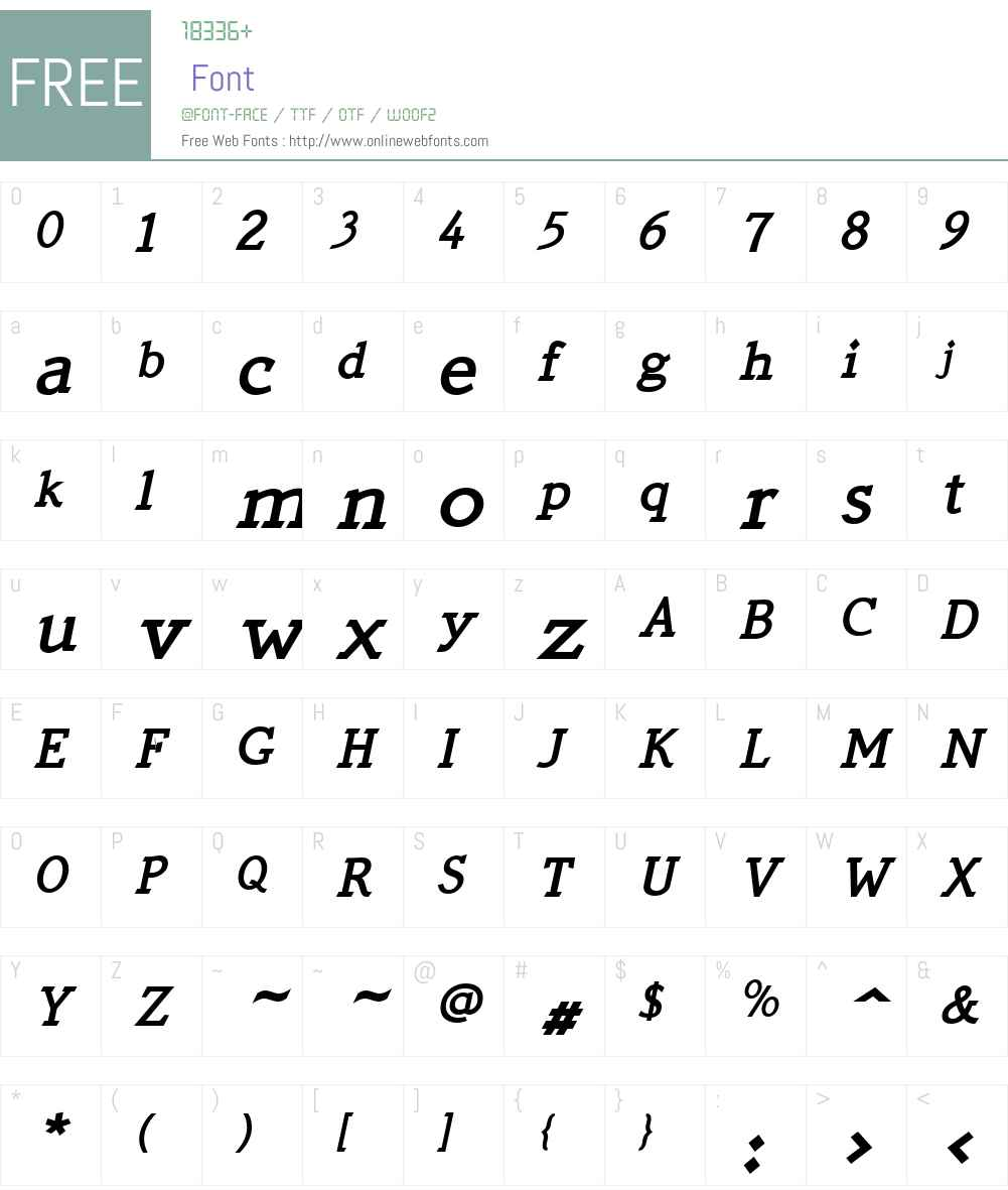 QuickTypeW01-BoldItalic Font Screenshots