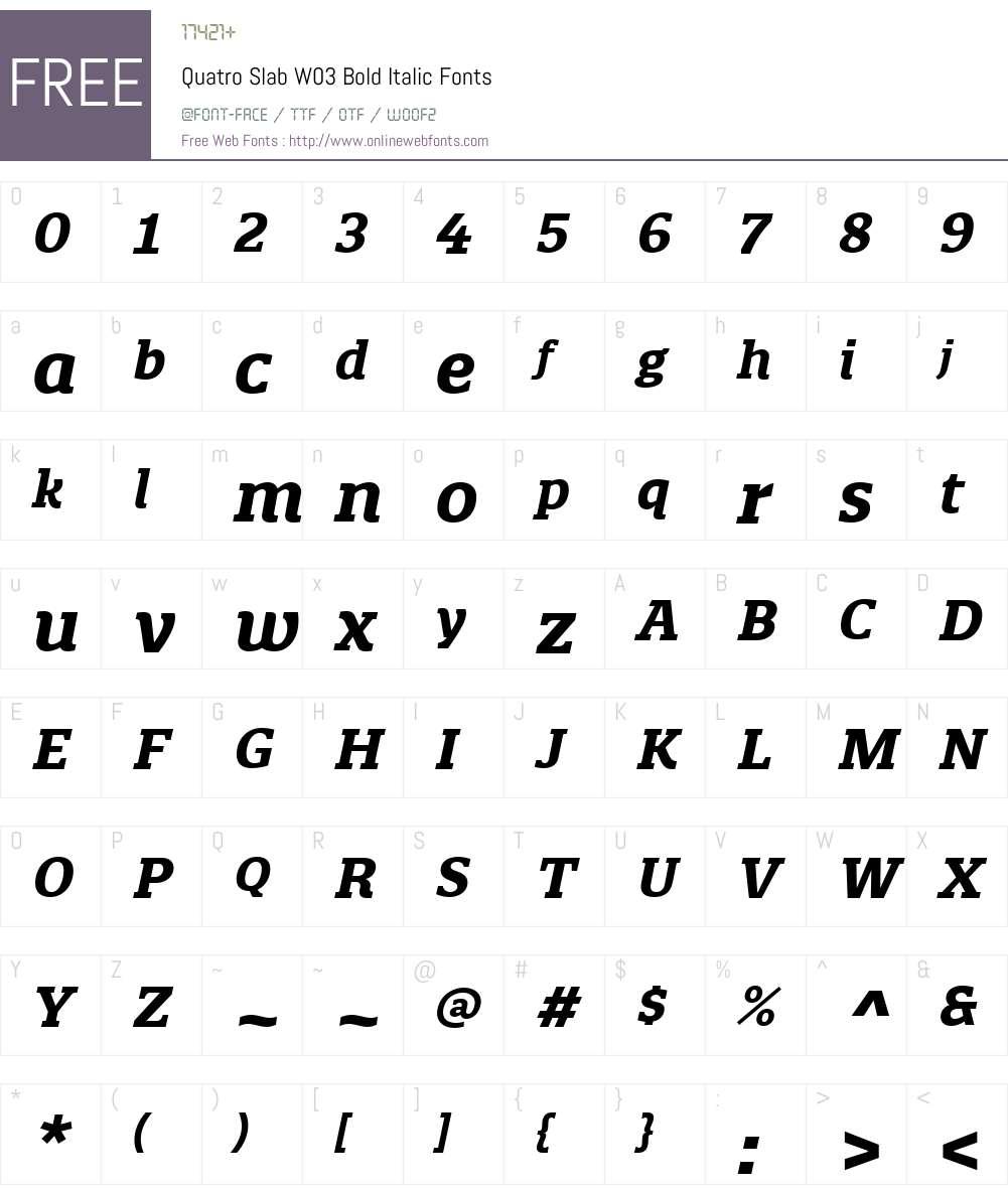 Quatro Slab Font Screenshots