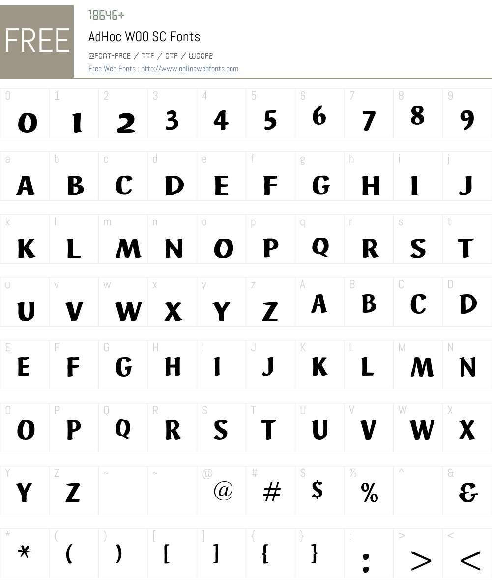 AdHocW00SC Font Screenshots