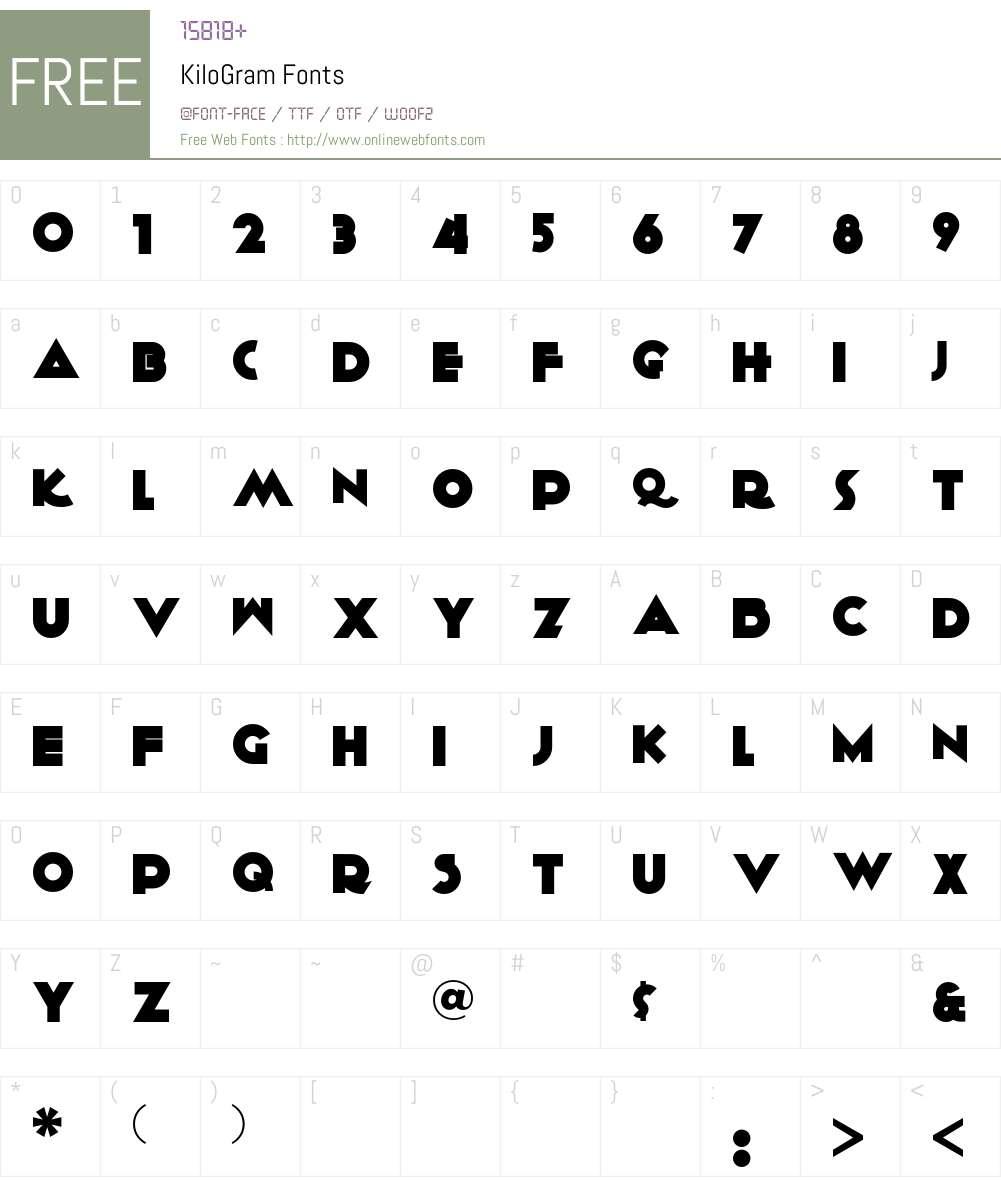 KiloGram Font Screenshots