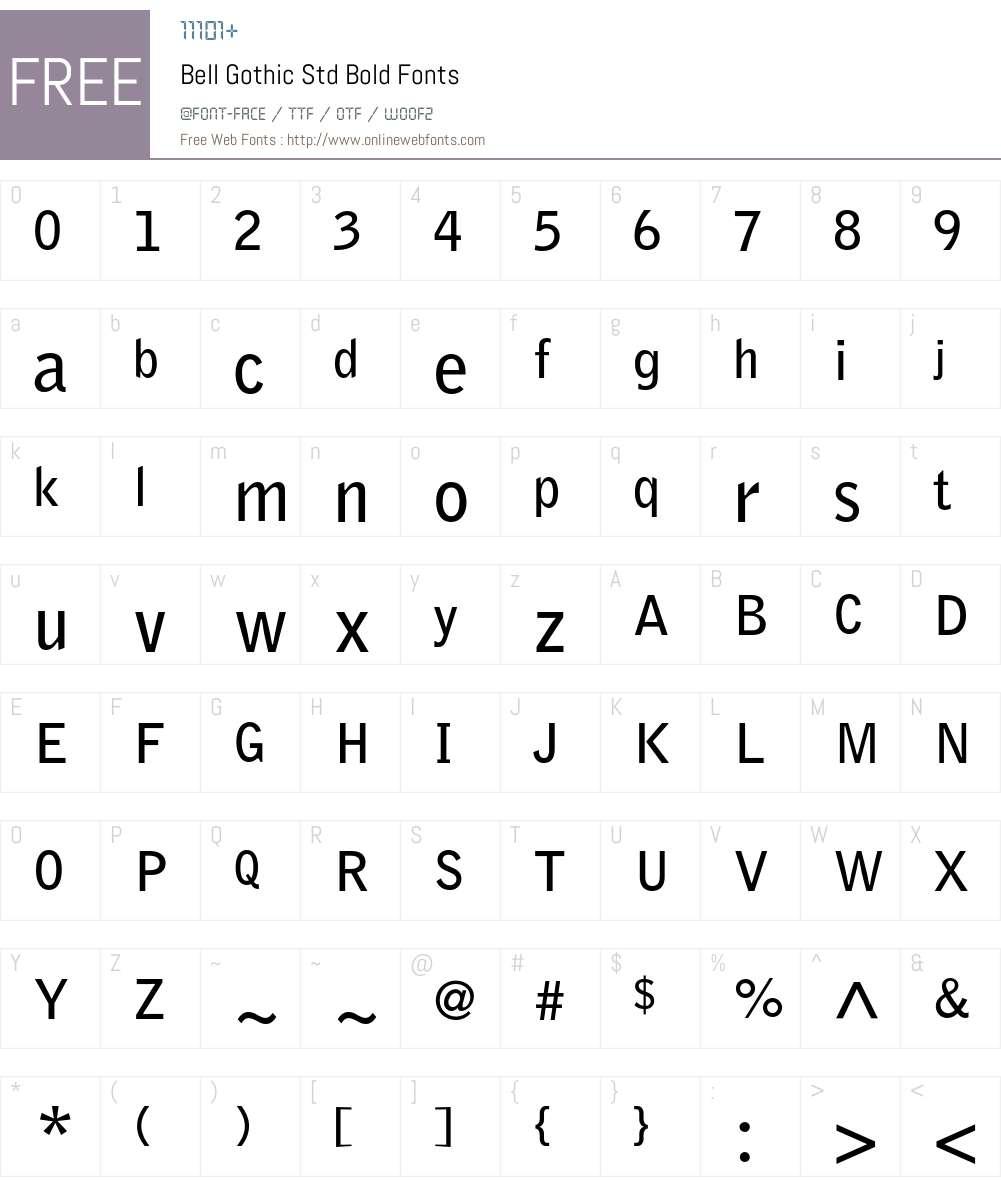Bell Gothic Std Font Screenshots