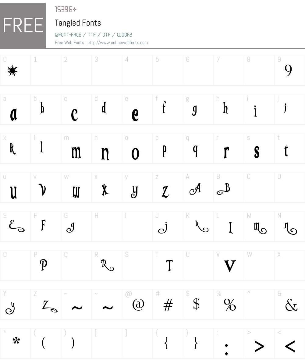Tangled Font Screenshots