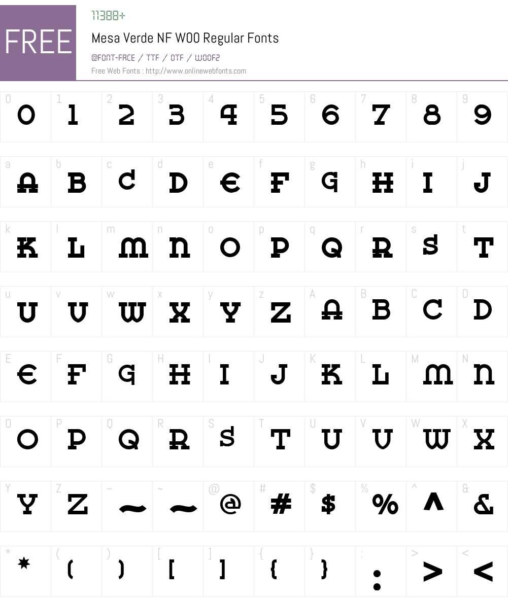 MesaVerdeNFW00-Regular Font Screenshots