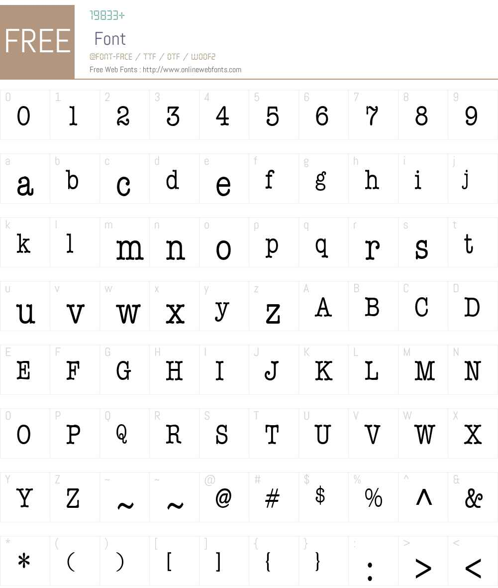 Typist Condensed Font Screenshots
