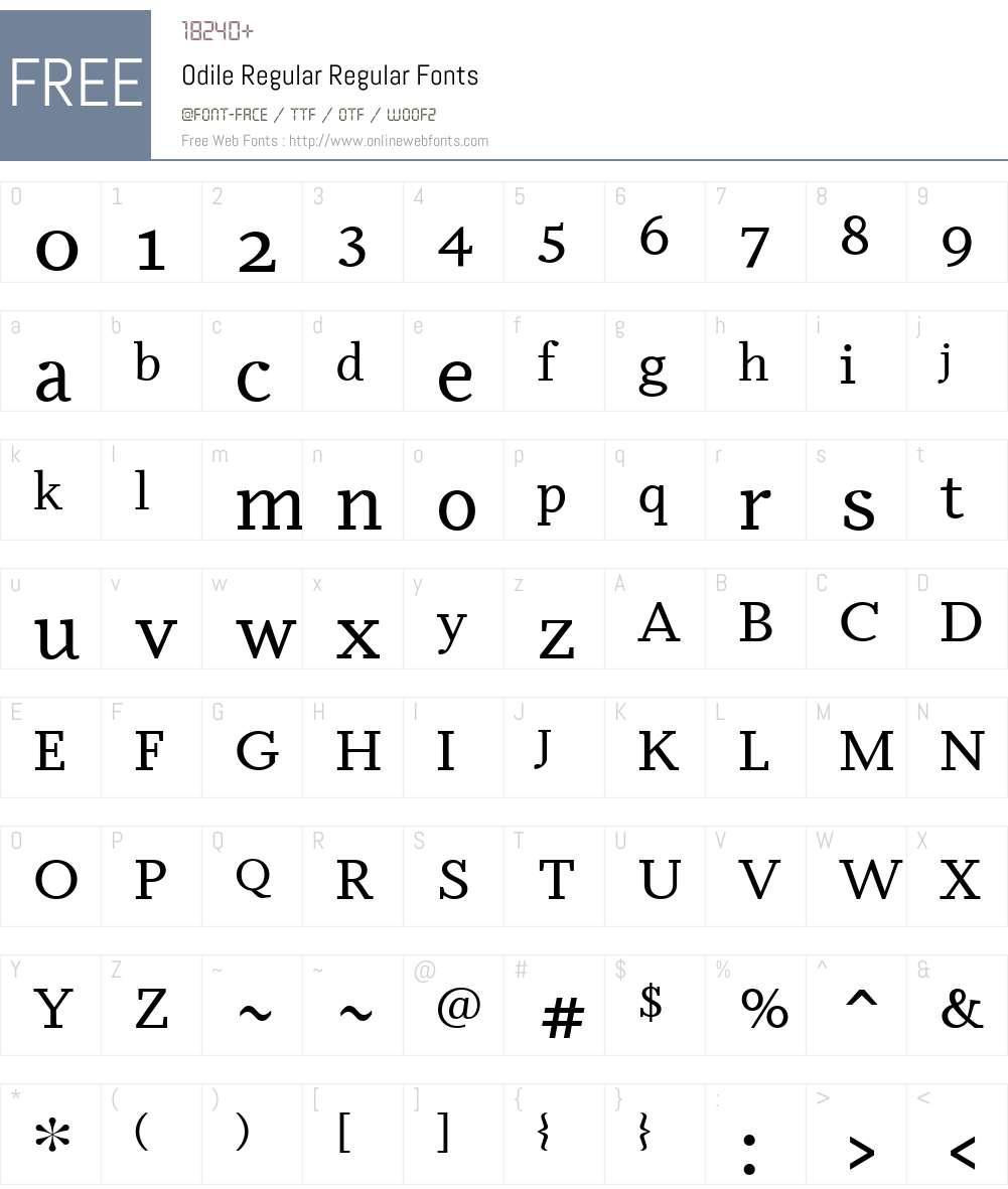 Odile Regular Font Screenshots