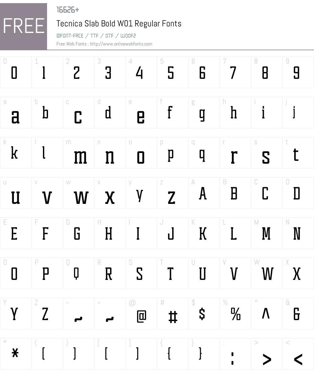 TecnicaSlabBoldW01-Regular Font Screenshots