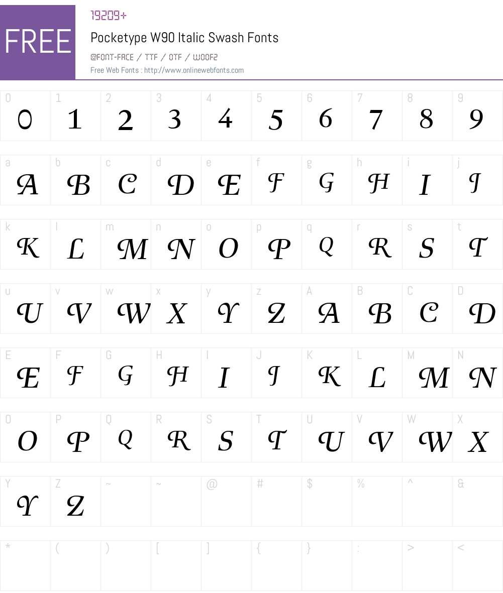 PocketypeW90-ItalicSwash Font Screenshots