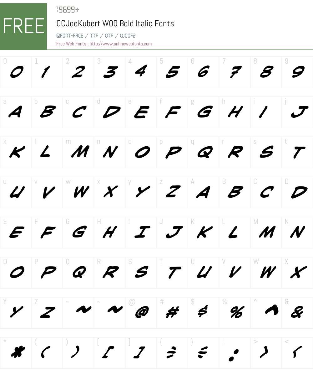 CCJoeKubertW00-BoldItalic Font Screenshots
