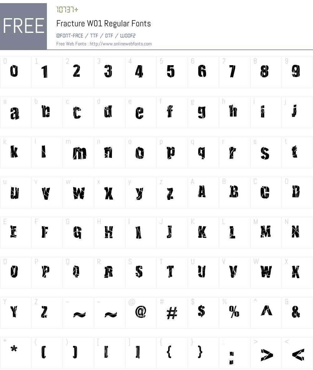 FractureW01-Regular Font Screenshots