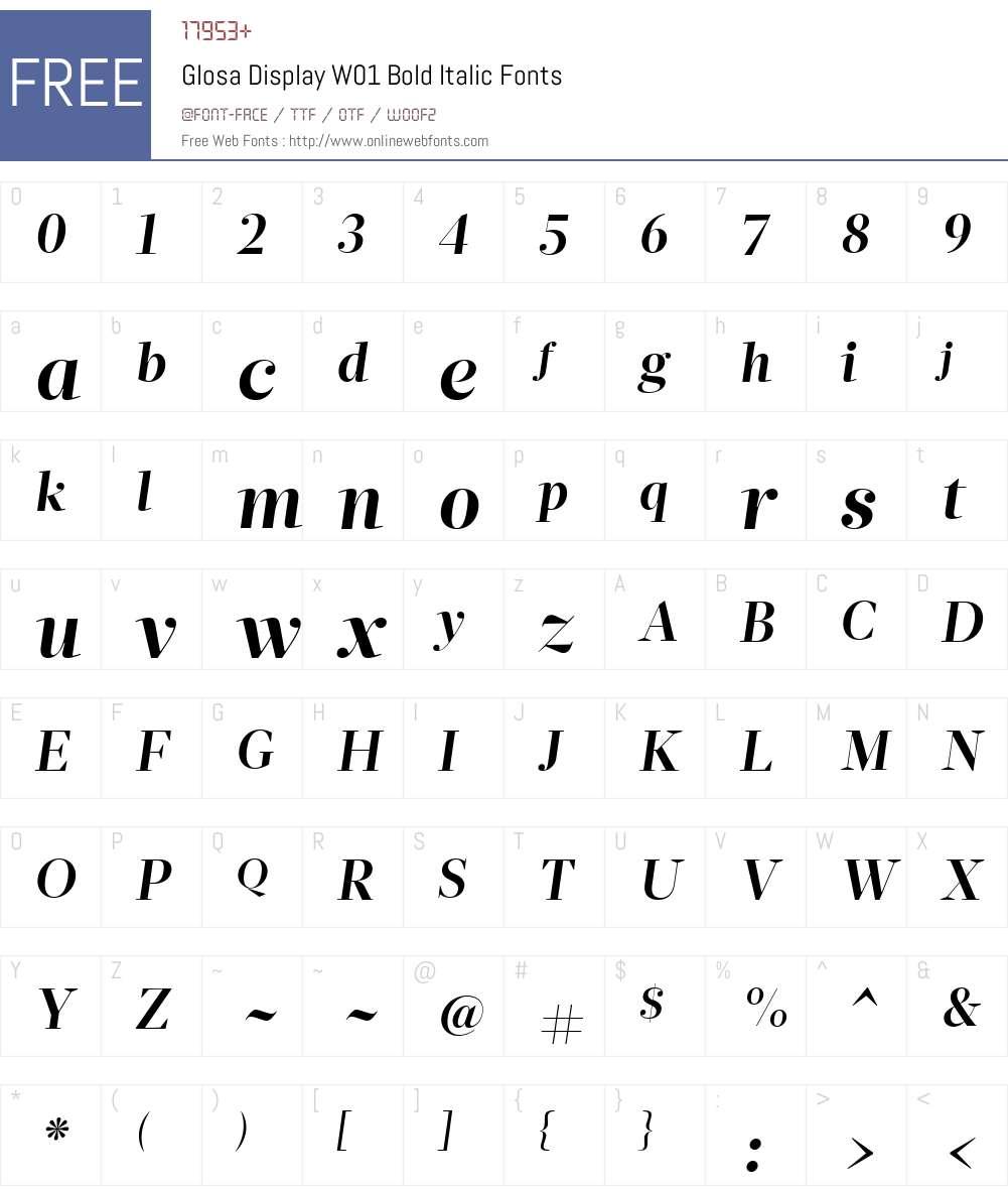 GlosaDisplayW01-BoldItalic Font Screenshots