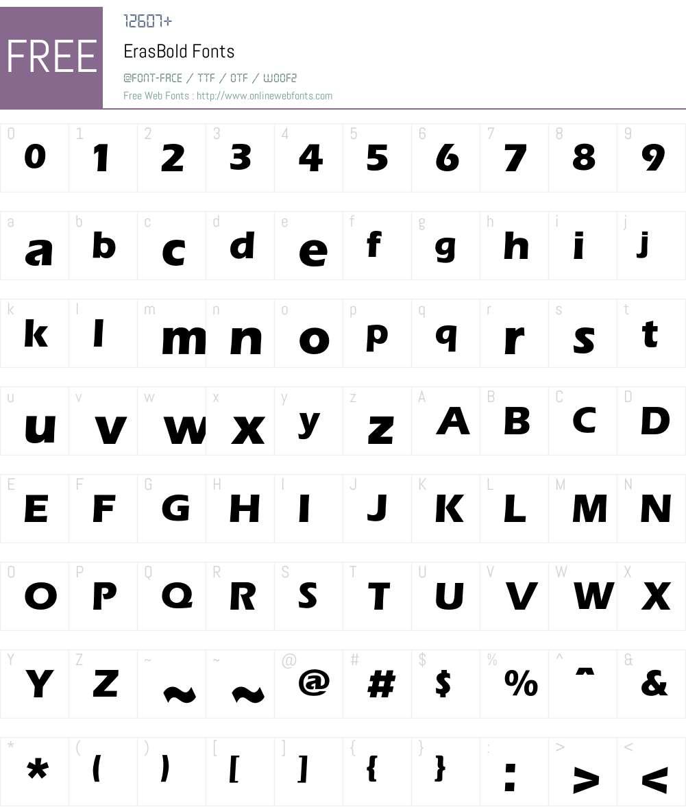 Eras Font Screenshots