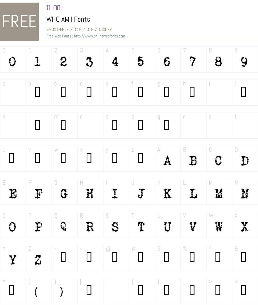WHO AM I Font Screenshots