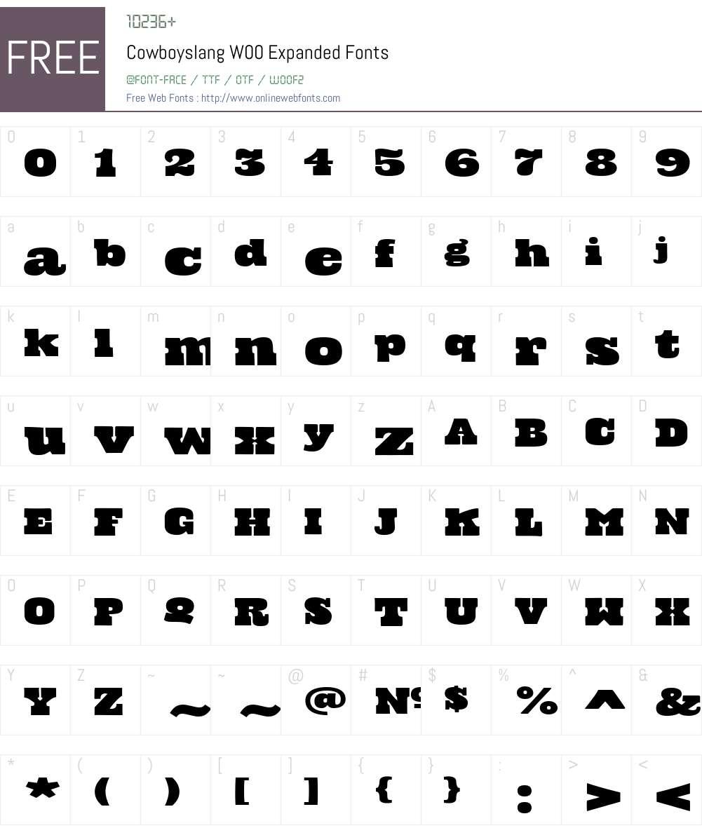 CowboyslangW00-Expanded Font Screenshots