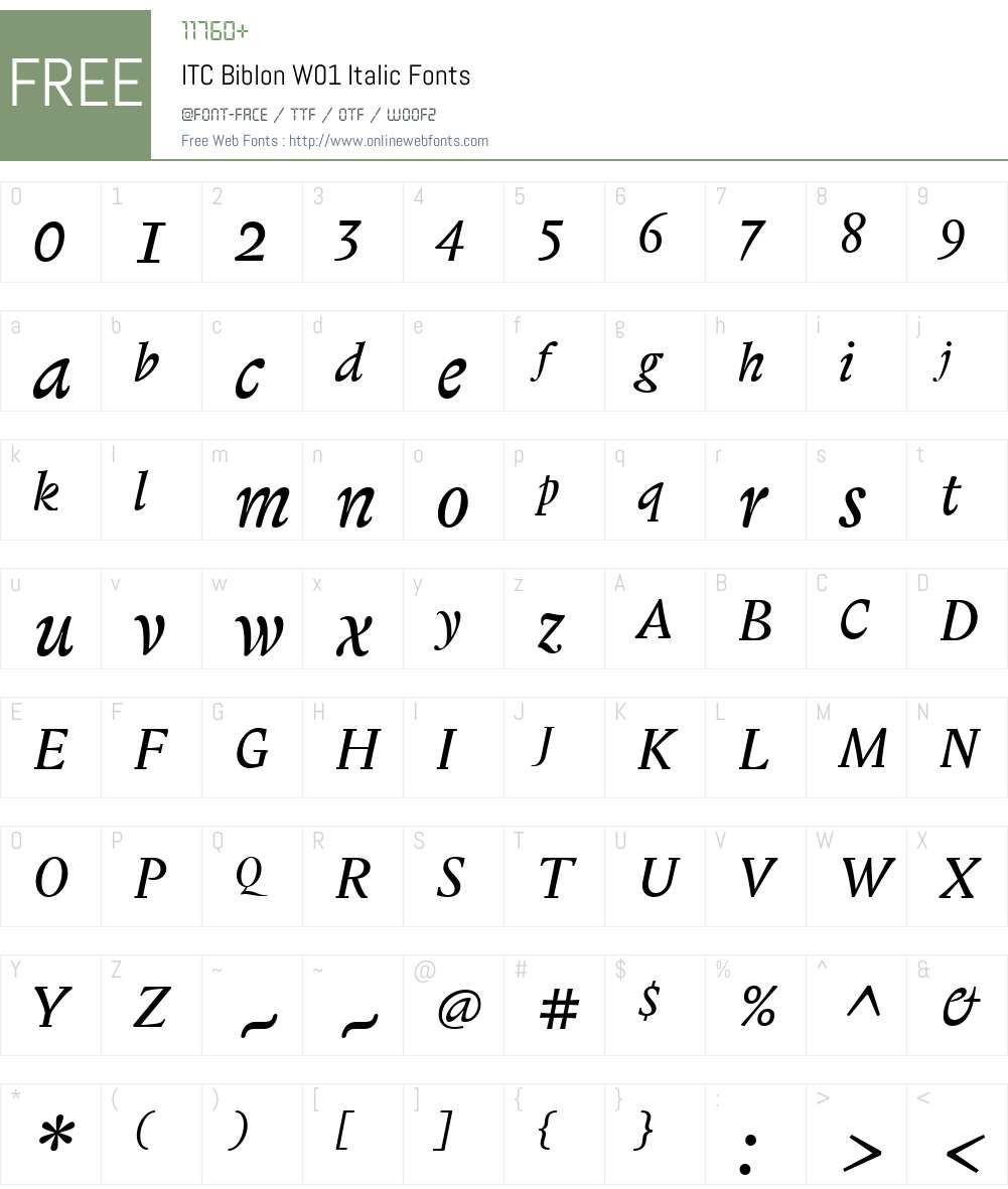 ITCBiblonW01-Italic Font Screenshots