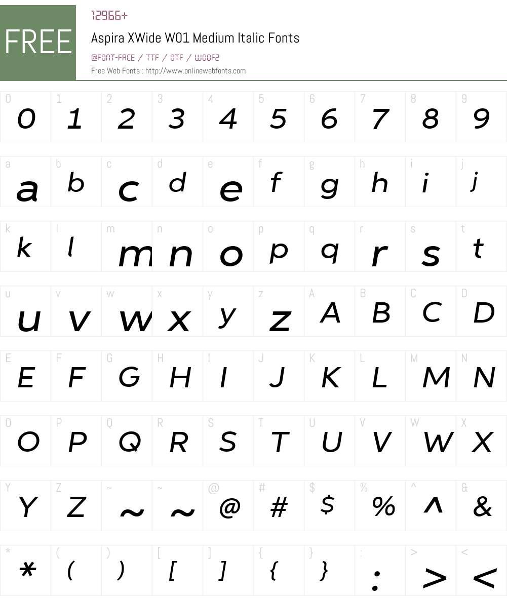 AspiraXWideW01-MediumIt Font Screenshots