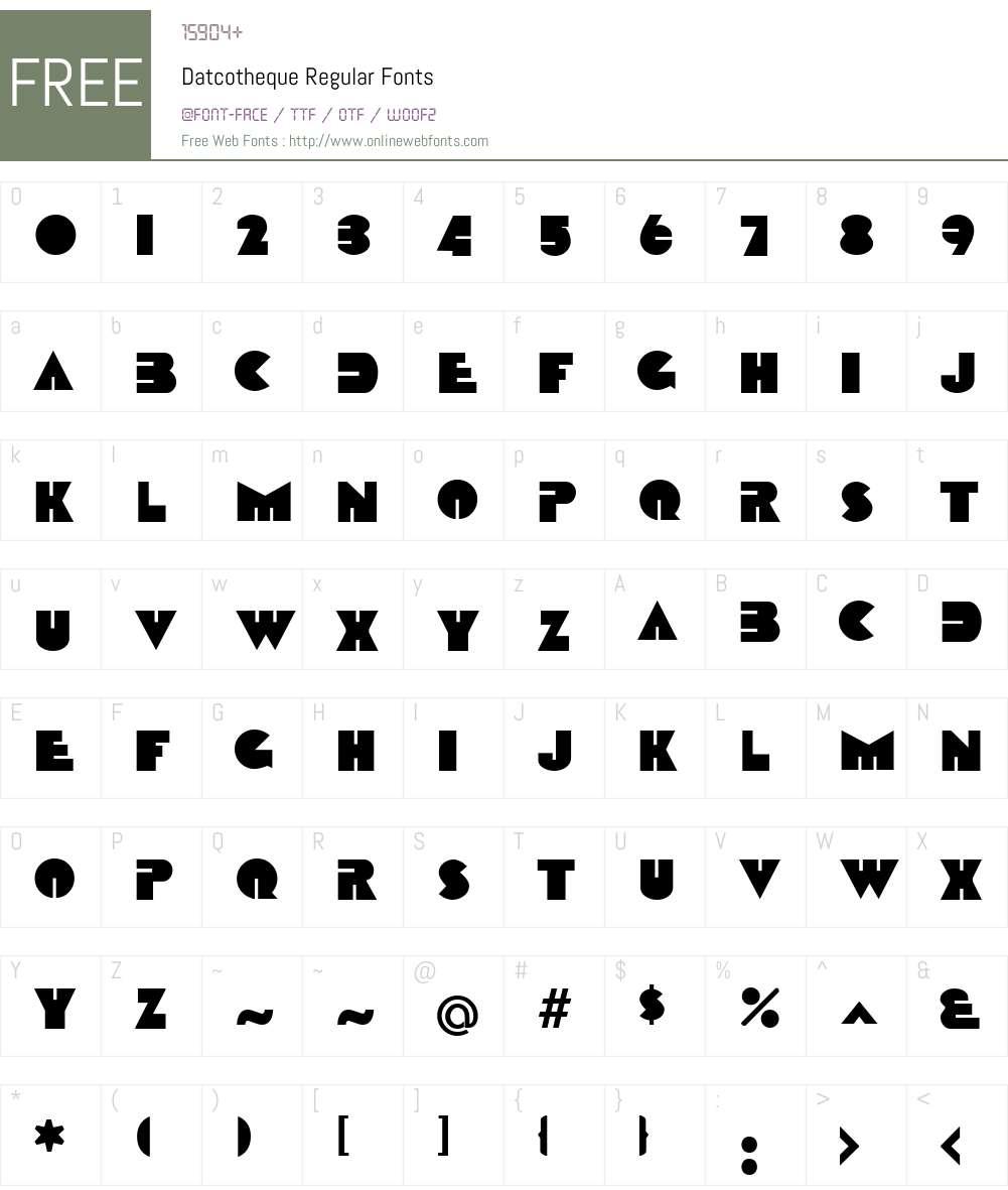 Datcotheque Font Screenshots