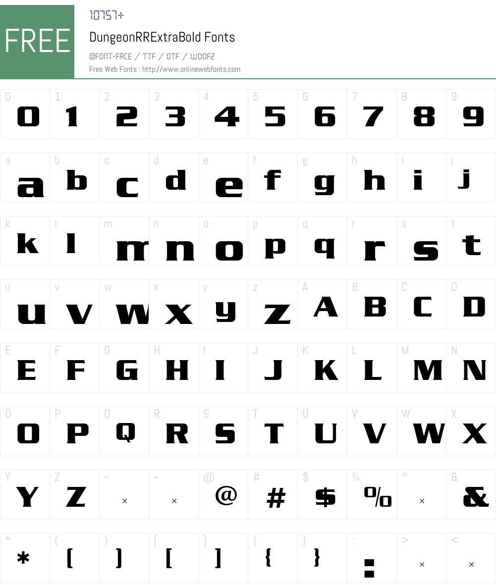 DungeonRRExtraBold Font Screenshots