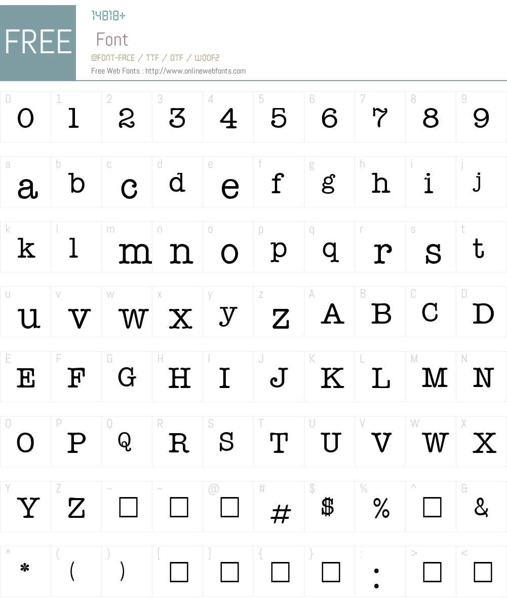 TypeWriterTwo Font Screenshots