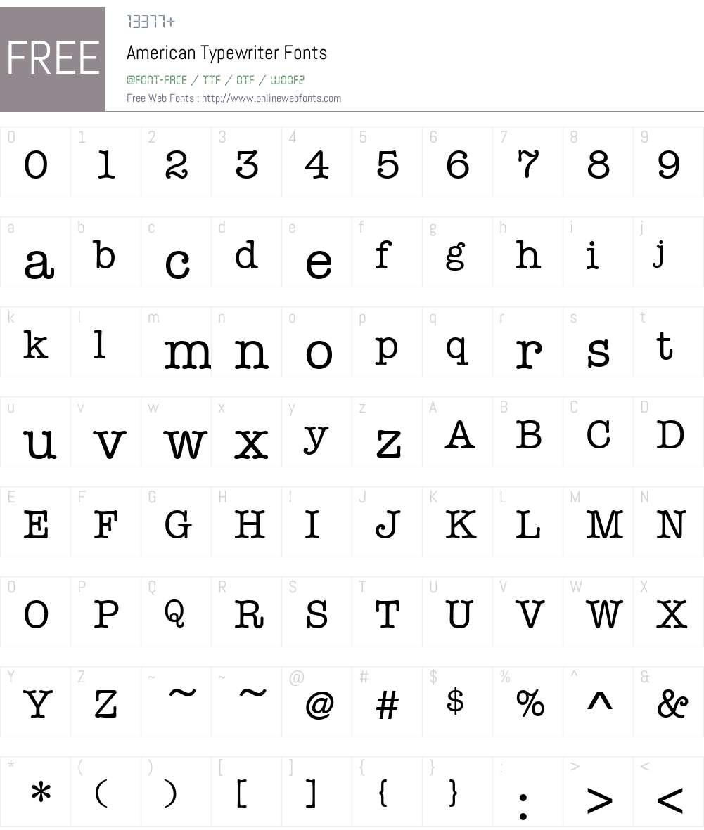 American Typewriter Font Screenshots