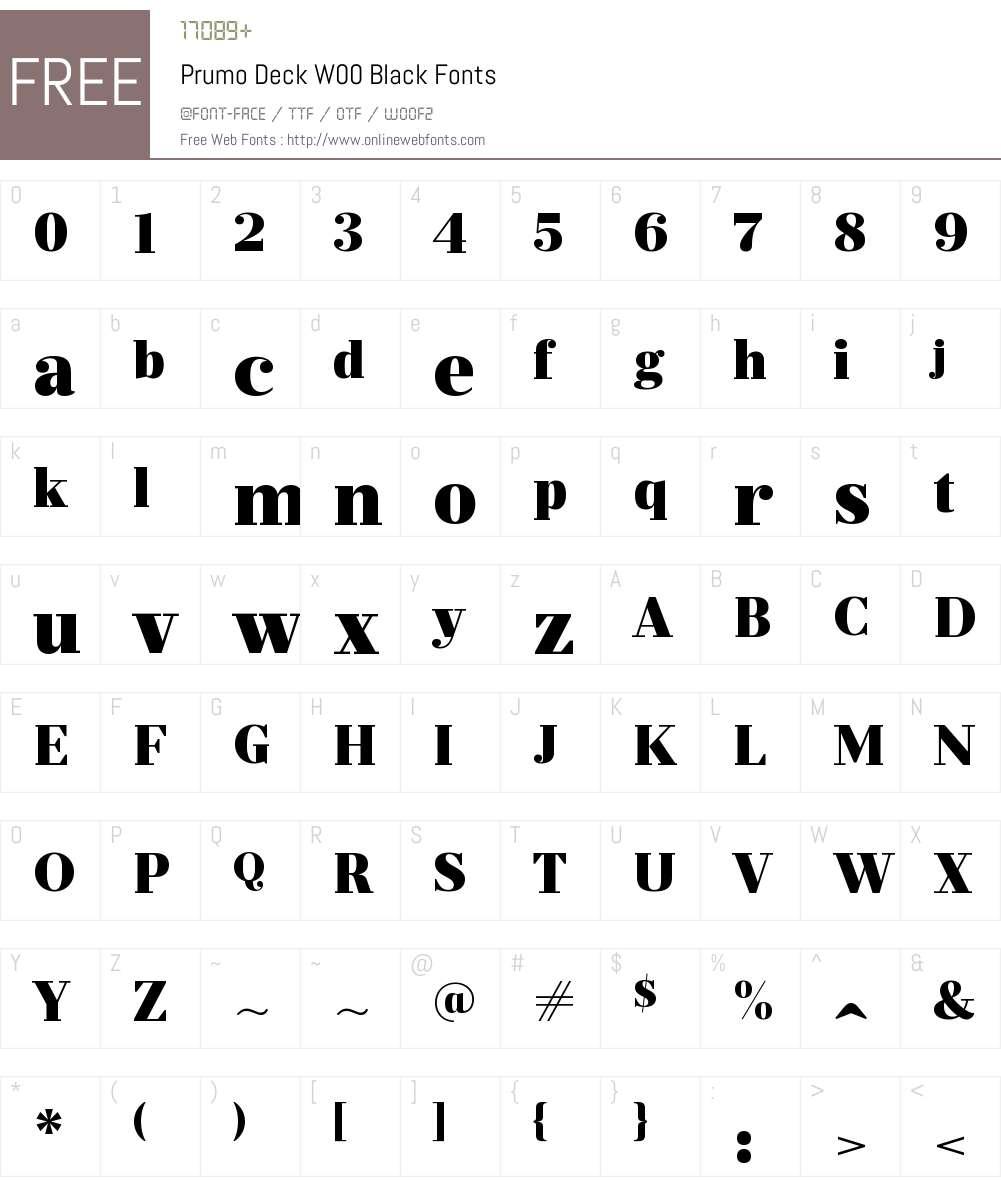 PrumoDeckW00-Black Font Screenshots