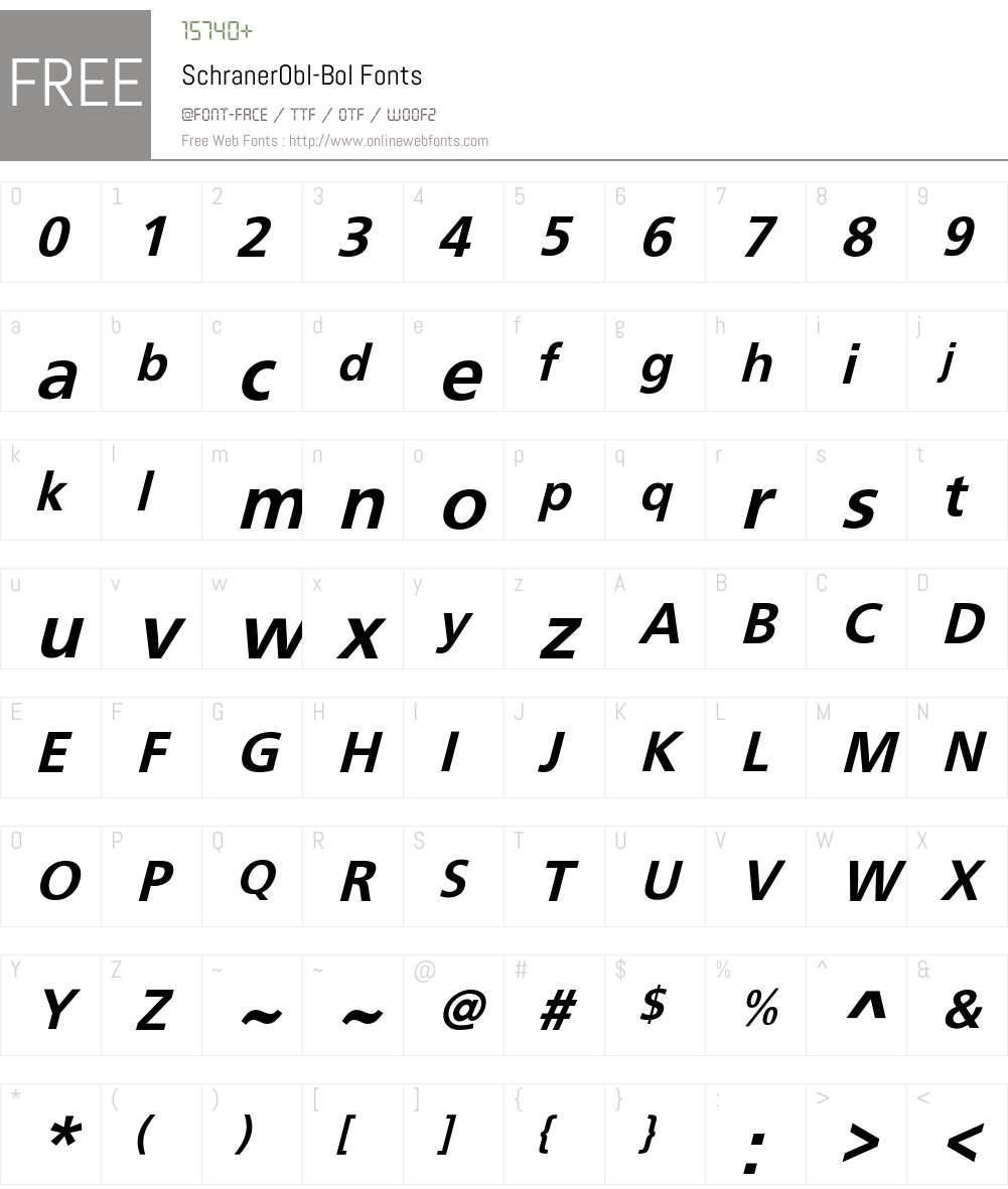 SchranerObl-Bol Font Screenshots